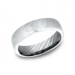 FORGE Mens Damascus Steel Wedding Band EUCF165DS