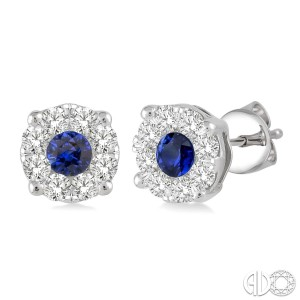 3.2 mm Round Cut Sapphire and 1/2 Ctw Lovebright Diamond Earrings in 14K White Gold