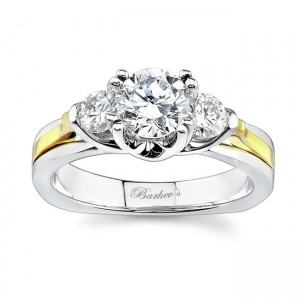 3 Stone Two Tone Engagement Ring 6713LTY