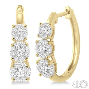 3/4 Ctw Diamond Lovebright Earrings in 14K Yellow and White Gold