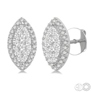 1/2 Ctw Marquise Shape Lovebright Round Cut Diamond Stud Earrings in 14K White Gold