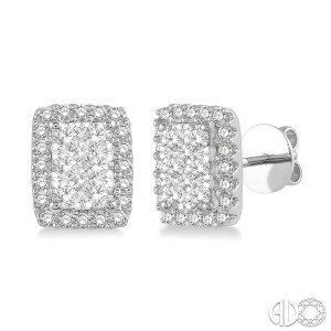 1/2 Ctw Emerald Shape Lovebright Round Cut Diamond Stud Earrings in 14K White Gold