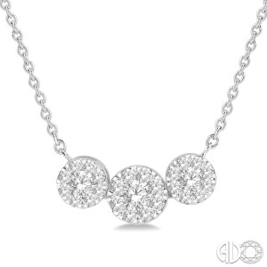 1/3 Ctw Triple Circle Lovebright Round Cut Diamond Necklace in 14K White Gold