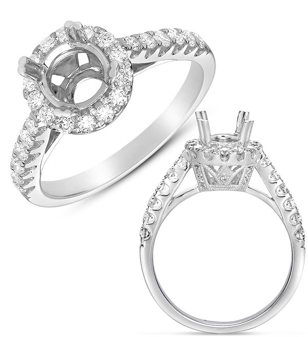 Ladies Halo Style Engagement Ring EN7497-1RDWG