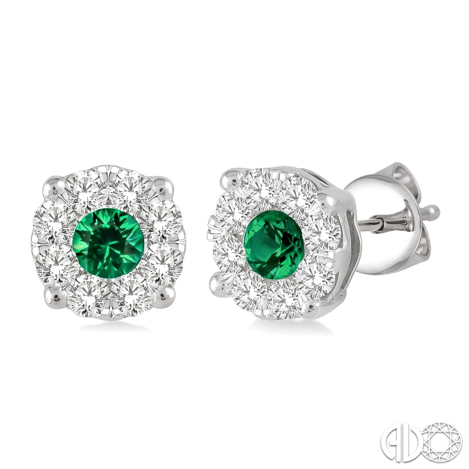 3.2 mm Round Cut Emerald and 1/2 Ctw Lovebright Diamond Earrings in 14K White Gold