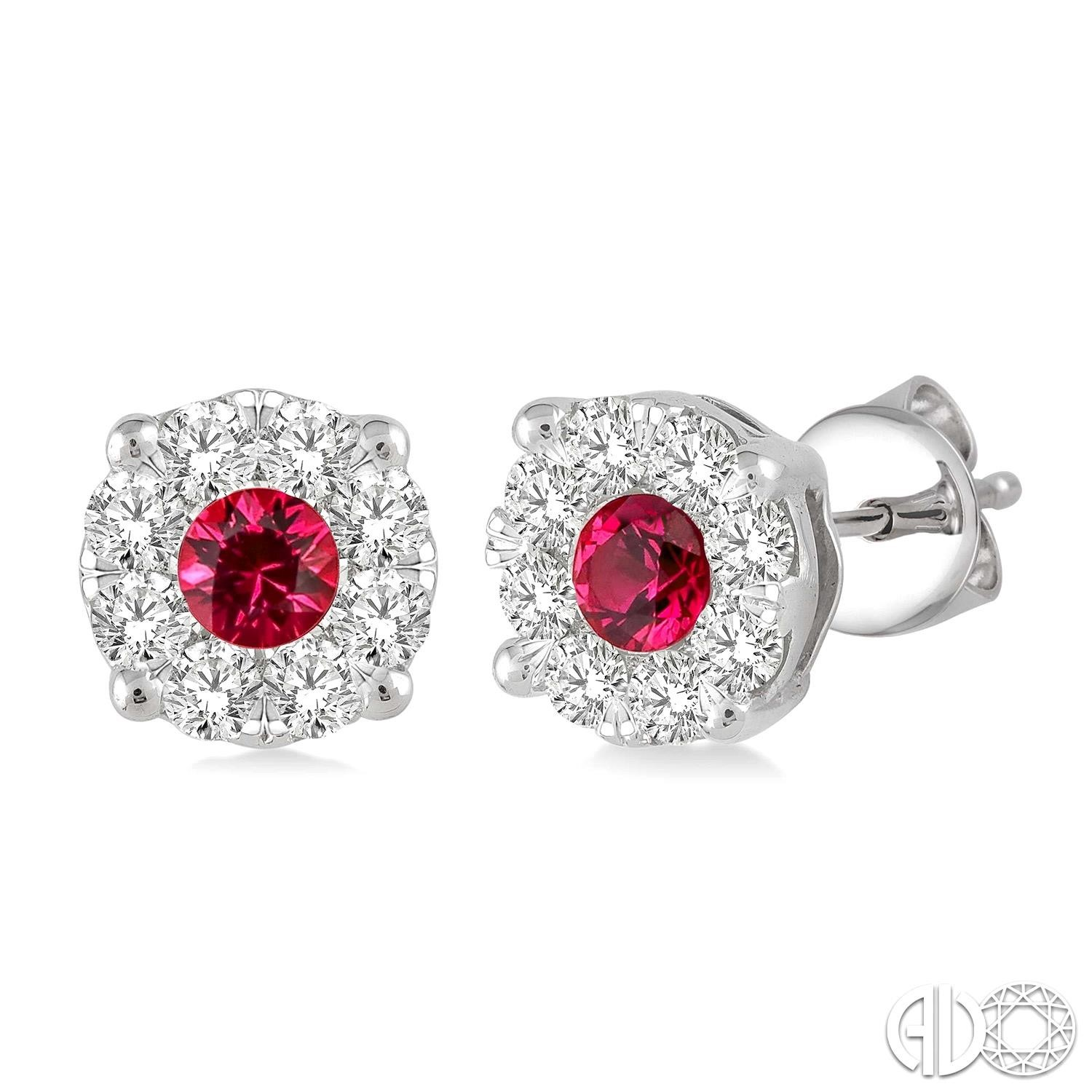 3.2 mm Round Cut Ruby and 1/2 Ctw Lovebright Diamond Earrings in 14K White Gold