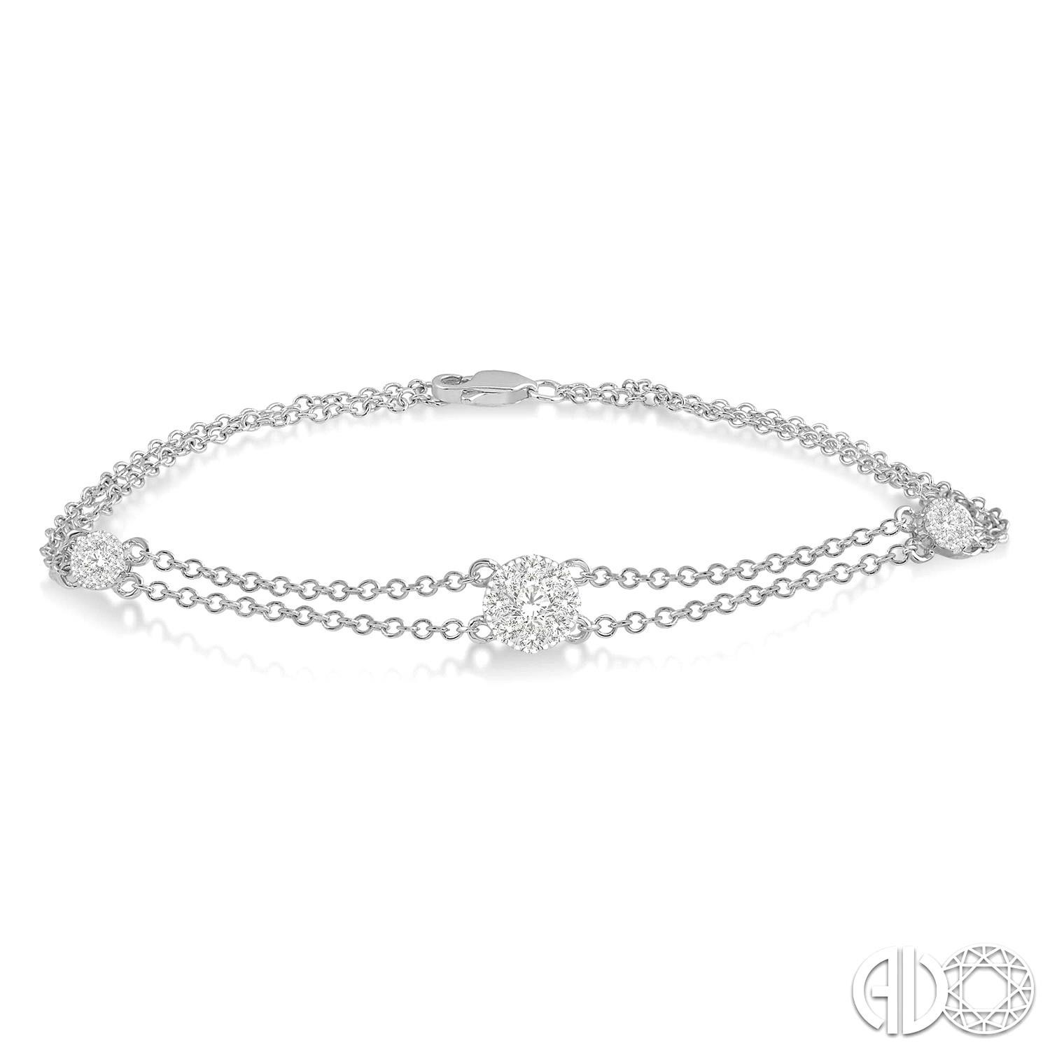 1/2 Ctw Round Cut Diamond Lovebright Double Link Chain Bracelet in 14K White Gold