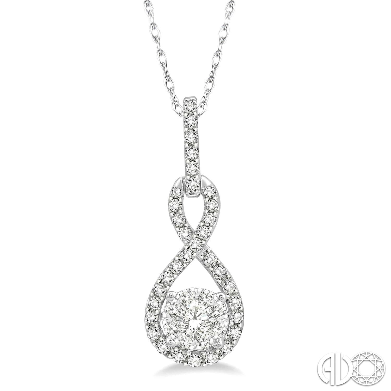 1/4 Ctw Winding Round Cut Diamond Lovebright Pendant With Link Chain in 14K White Gold