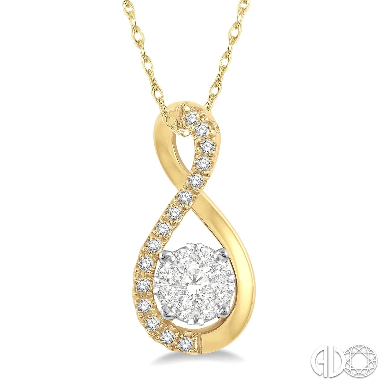 1/5 Ctw Twisted Loop Lovebright Round Cut Diamond Pendant in 14K Yellow and White Gold with chain