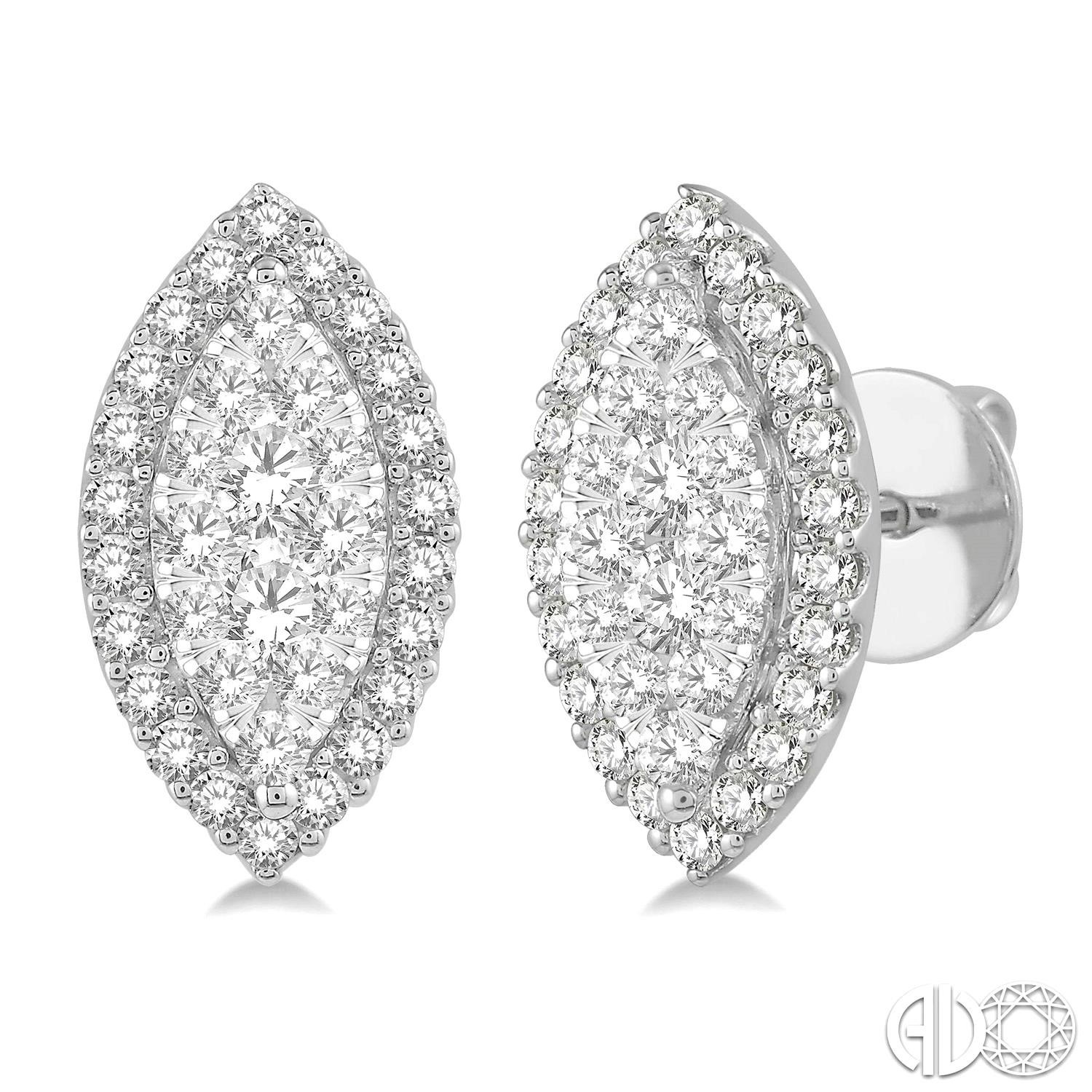 1 Ctw Marquise Shape Lovebright Round Cut Diamond Stud Earrings in 14K White Gold