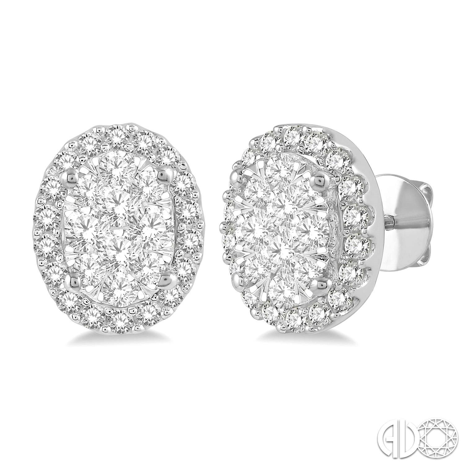 1/2 Ctw Oval Shape Lovebright Round Cut Diamond Stud Earrings in 14K White Gold