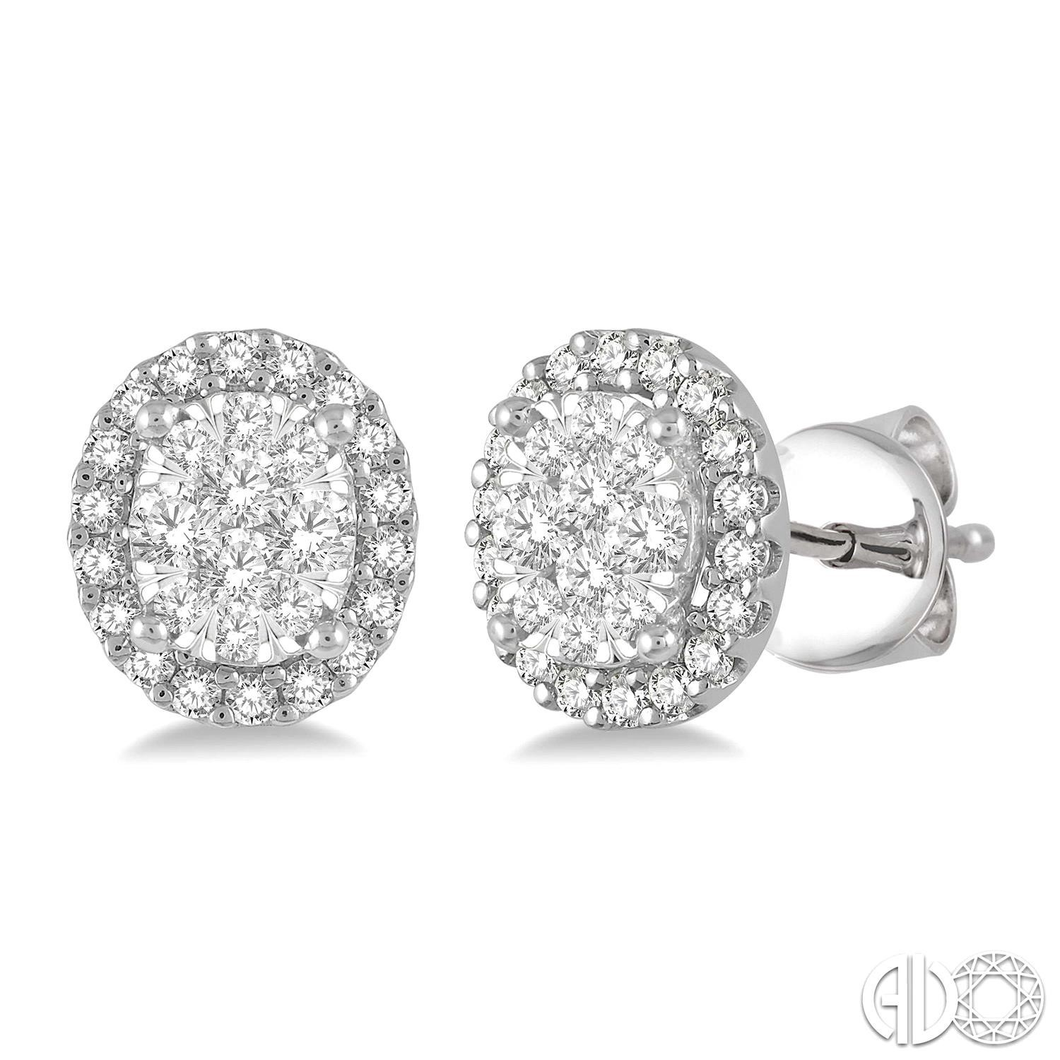 1/3 Ctw Oval Shape Lovebright Round Cut Diamond Stud Earrings in 14K White Gold