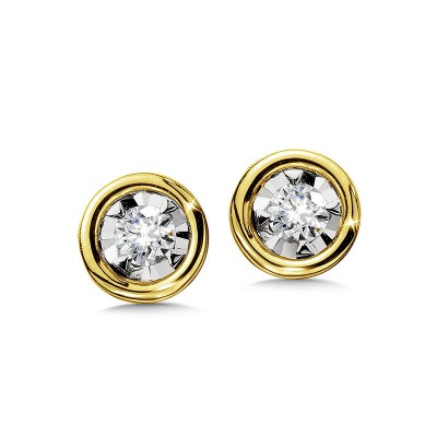 14K YELLOW GOLD BEZELED DIAMOND STAR SOLITAIRE STUD EARRINGS
