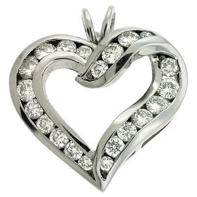 Ladies Heart Pendant P2146WG