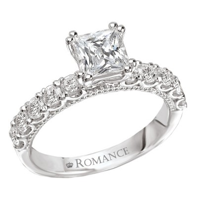 Romance Peg Head Semi-Mount Diamond Engagement Ring 117316-S