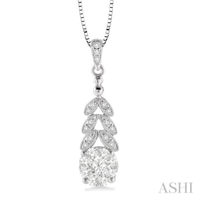 3/8 Ctw Lovebright Round Cut Diamond Pendant in 10K White Gold with Chain