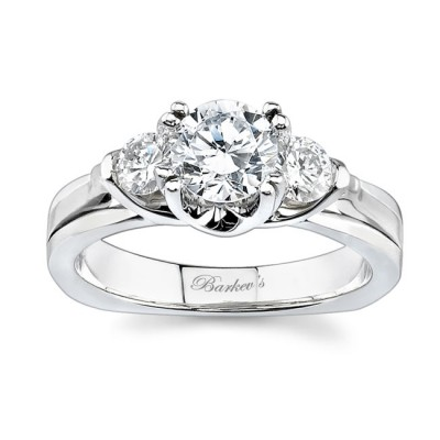 3 Stone White Gold Engagement Ring 6713L