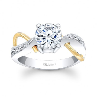 White & Yellow Gold Engagement Ring 6818LTY