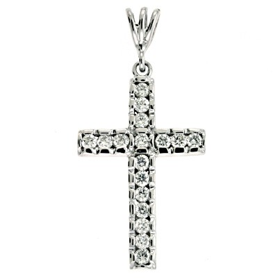 Ladies Diamond Cross Pendant P2415WG