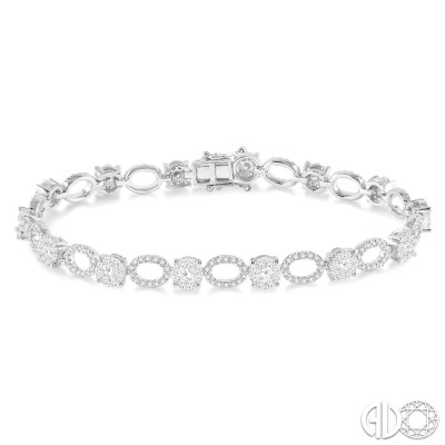 3 1/3 Ctw Lovebright Round Cut Diamond Tennis Bracelet in 14K White Gold