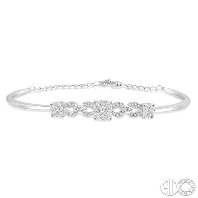 3/4 Ctw Round Cut Diamond Lovebright Bracelet in 14K White Gold