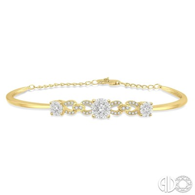 3/4 Ctw Round Cut Diamond Lovebright Bracelet in 14K Yellow Gold