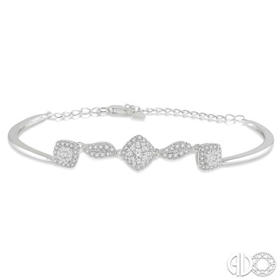 5/8 Ctw Round Cut Diamond Lovebright Bracelet in 14K White Gold