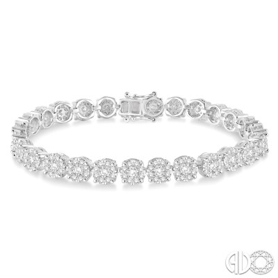 7 Ctw Round Cut Diamond Lovebright Bracelet in 14K White Gold