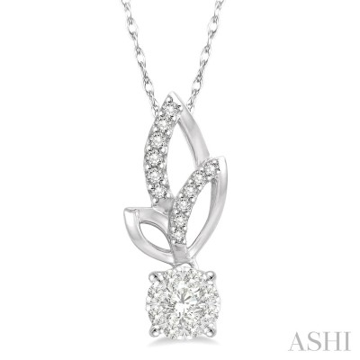 1/6 Ctw Leafy Round Cut Diamond Lovebright Pendant With Link Chain in 14K White Gold
