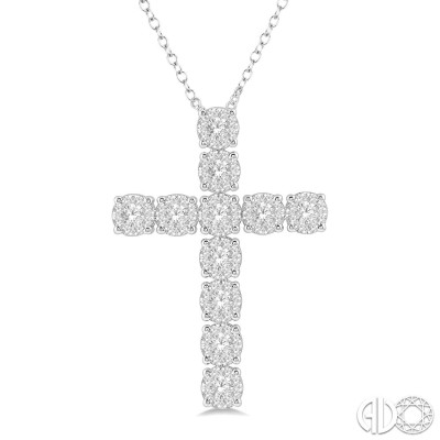 3/4 Ctw Lovebright Round Cut Diamond Cross Pendant in 14K White Gold with chain