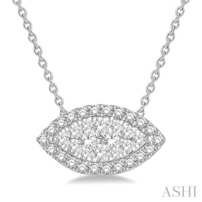 1/2 Ctw Marquise Shape Lovebright Round Cut Diamond Pendant in 14K White Gold