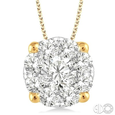 2 Ctw Lovebright Round Cut Diamond Pendant in 14K Yellow Gold with Chain