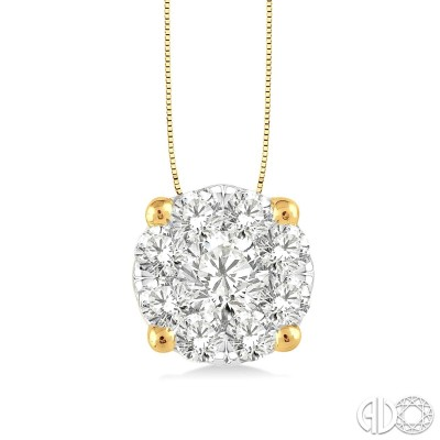 1 Ctw Lovebright Round Cut Diamond Pendant in 14K Yellow and White Gold with Chain