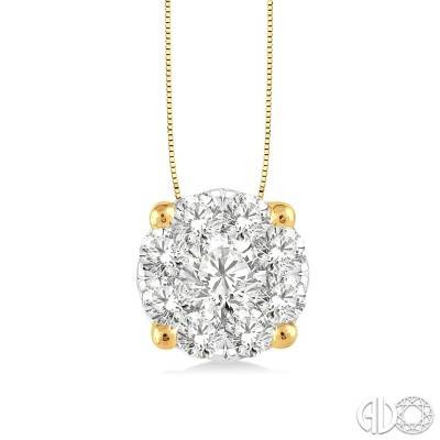 3/4 Ctw Lovebright Round Cut Diamond Pendant in 14K Yellow and White Gold with Chain