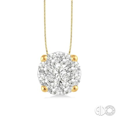 1/2 Ctw Lovebright Round Cut Diamond Pendant in 14K Yellow and White Gold with Chain