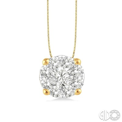 1/3 Ctw Lovebright Round Cut Diamond Pendant in 14K Yellow and White Gold with Chain