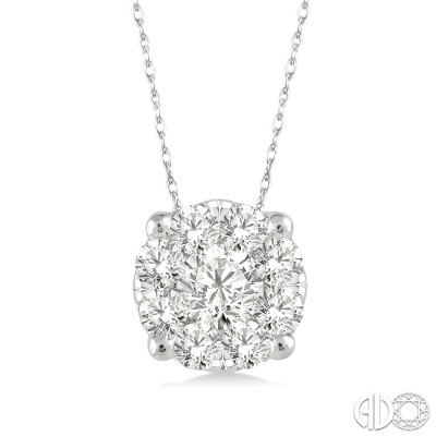 1/8 Ctw Lovebright Round Cut Diamond Pendant in 14K White Gold with Chain