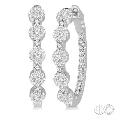 1 ctw Circular Five Mount Lovebright Round Cut Diamond Hoop Earring in 14K White Gold
