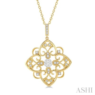 1/3 ctw Floral Heart Lovebright Round Cut Diamond Pendant With Chain in 14K Yellow and White Gold