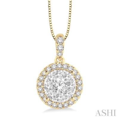 1/3 Ctw Round Cut Diamond Lovebright Pendant in 14K Yellow and White Gold with Chain