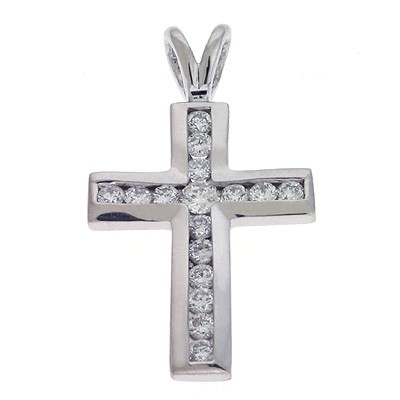 Ladies Diamond Cross Pendant P2221WG