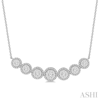 1 1/5 ctw Circular Mount Lovebright Round Cut Diamond Necklace in 14K White Gold