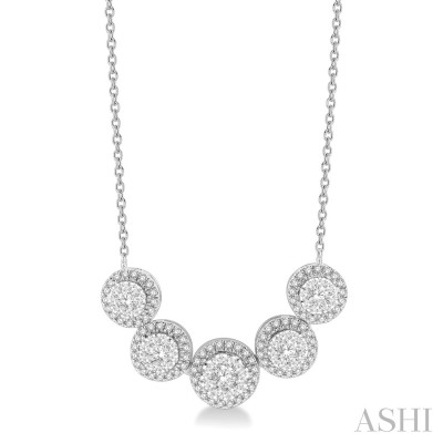3/4 ctw Circular Mount Lovebright Round Cut Diamond Necklace in 14K White Gold