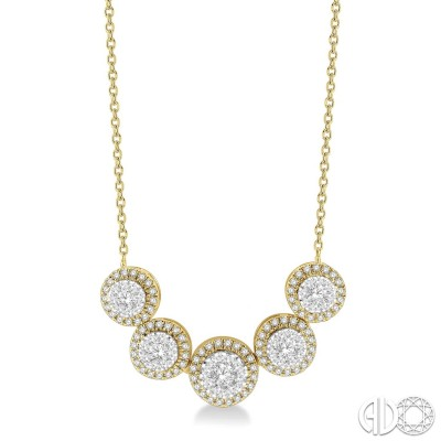 3/4 ctw Circular Mount Lovebright Round Cut Diamond Necklace in 14K Yellow & White Gold