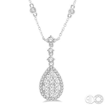1 Ctw Pear Shape Round Cut Diamond Lovebright Necklace in 14K White Gold