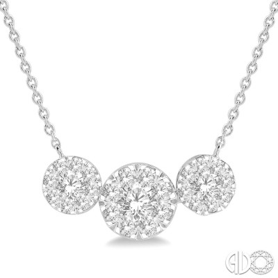 1 Ctw Triple Circle Lovebright Round Cut Diamond Necklace in 14K White Gold