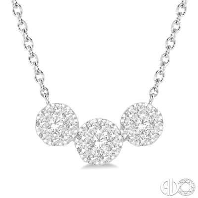 1/2 Ctw Triple Circle Lovebright Round Cut Diamond Necklace in 14K White Gold