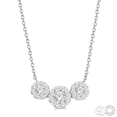 3/4 Ctw Triple Circle Lovebright Round Cut Diamond Necklace in 14K White Gold