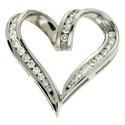 Ladies Heart Pendant P2184WG