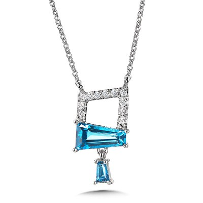 ABSTRACT SWISS BLUE TOPAZ AND DIAMOND NECKLACE